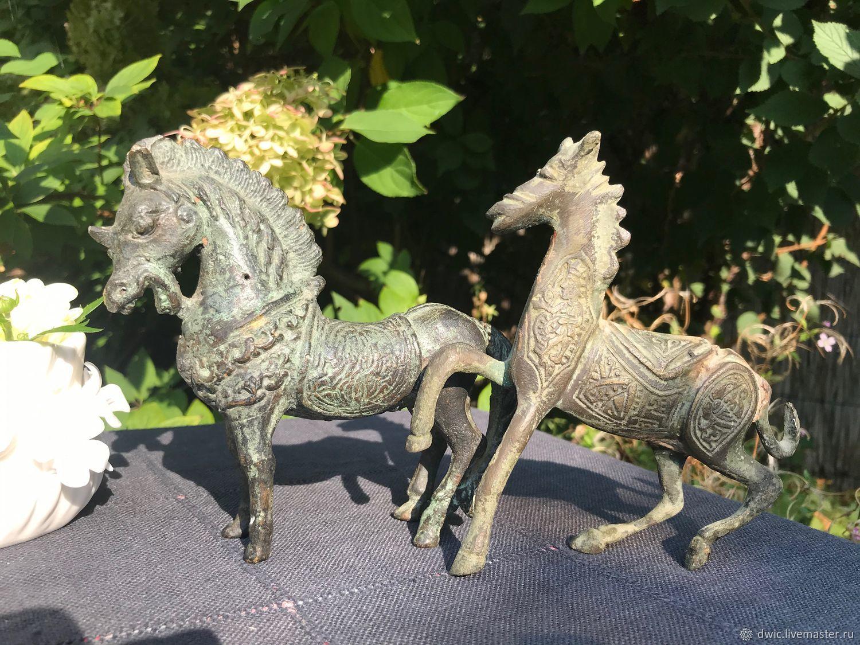 Bronze figurines 'Horses', handmade, Holland, Vintage interior, Arnhem,  Фото №1