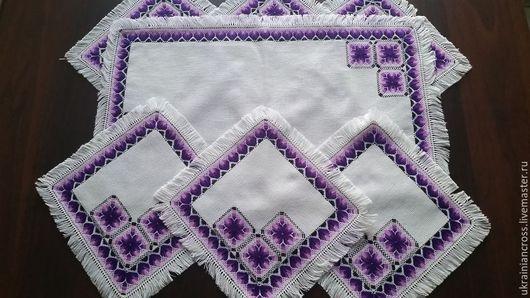 Текстиль, ковры ручной работы. Ярмарка Мастеров - ручная работа. Купить Комплект салфеток. Handmade. Салфетка, вышивка, ткань хлопок