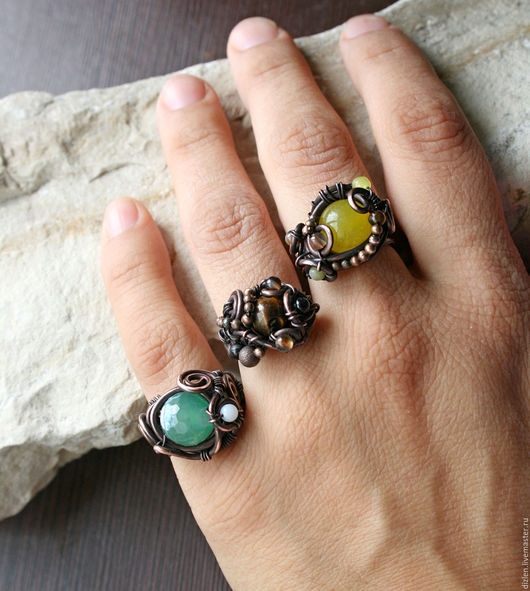 кольцо из меди ручной работы с камнями с бусинами перстень  оригинальный колечко купить wirewrap медный