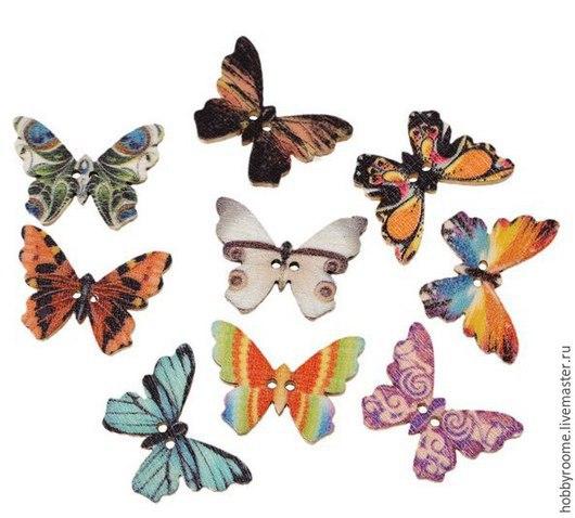 """Шитье ручной работы. Ярмарка Мастеров - ручная работа. Купить Пуговица деревянная """"Бабочки"""" 25мм x 18мм. Handmade. Разноцветный"""