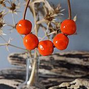 Материалы для творчества manualidades. Livemaster - hecho a mano Conjunto de 5 piezas de perlas anaranjadas. Handmade.