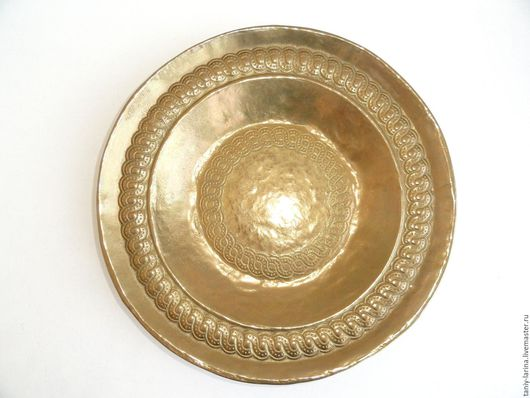 Винтажная посуда. Ярмарка Мастеров - ручная работа. Купить Старинное большое бронзовое блюдо. Handmade. Золотой, бронзовый, для сервировки стола