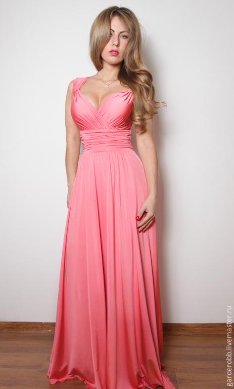 """Платья ручной работы. Ярмарка Мастеров - ручная работа. Купить Вечернее платье в пол """"Нежность"""". Handmade. Коралловый, красное платье"""