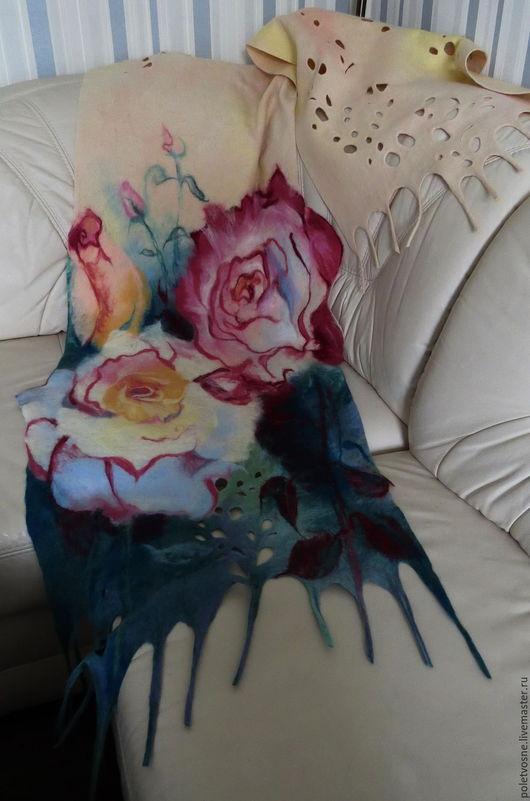 """Шали, палантины ручной работы. Ярмарка Мастеров - ручная работа. Купить Палантин """"Розовый зефир"""". Handmade. Цветочный, палантин для девушки"""
