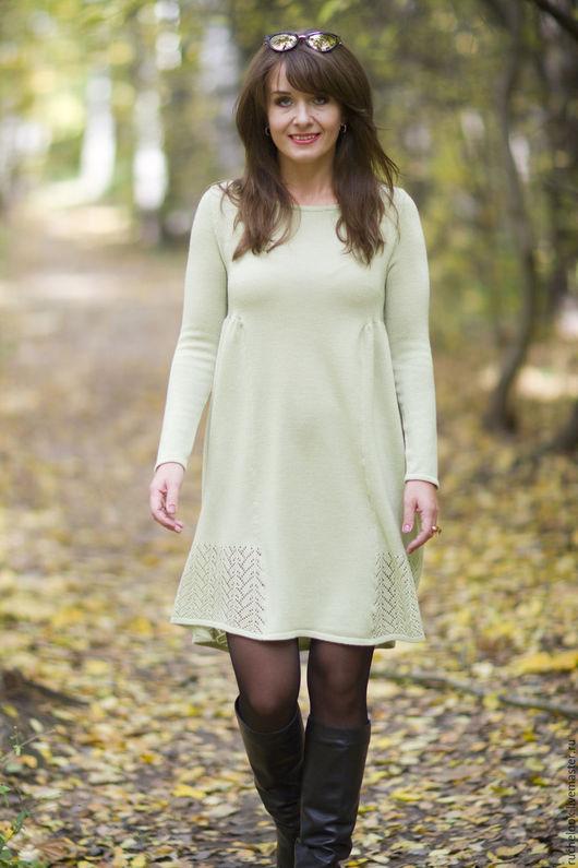 вязаное платье вязаное, теплое платье теплое, шерстяное платье шерстяное, пышное платье пышное, салатовое платье салатовое, кружево, ажур, платье с пышной юбкой, платье из шерсти, платье из мериноса