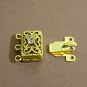 Accessories4 handmade. Livemaster - original item Lock on 3 strands filigree with zircon, gold plated, 17 x 13 mm. Handmade.