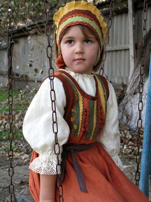 Одежда ручной работы. Ярмарка Мастеров - ручная работа. Купить Костюм в народном стиле  для девочки. Handmade. Рыжий, для девочки