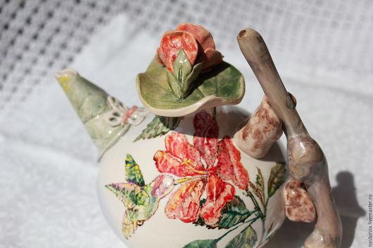 Чайники, кофейники ручной работы. Ярмарка Мастеров - ручная работа. Купить Чайник керамический Колибри. Handmade. Ярко-красный, летний
