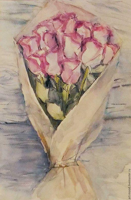 Картины цветов ручной работы. Ярмарка Мастеров - ручная работа. Купить Букет. Handmade. Комбинированный, розовые розы