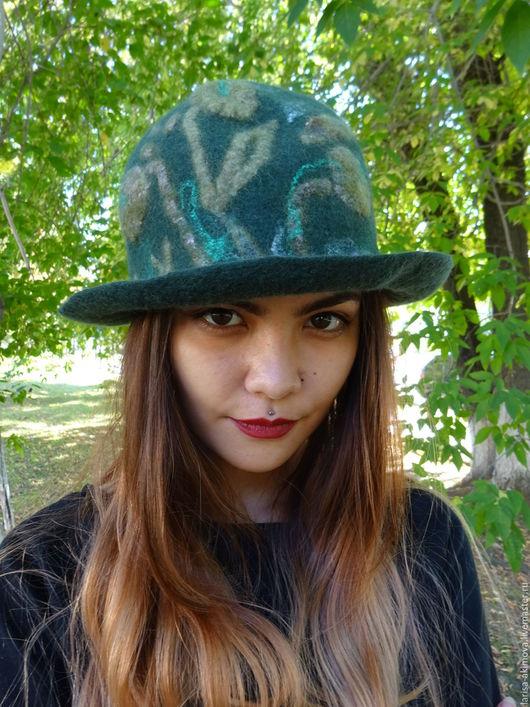 Шляпы ручной работы. Ярмарка Мастеров - ручная работа. Купить Шляпа валяная женская Тёмные аллеи . Шерсть 100% шёлк. Handmade.
