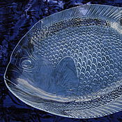 Посуда ручной работы. Ярмарка Мастеров - ручная работа Большое стеклянное блюдо для рыбы. Handmade.