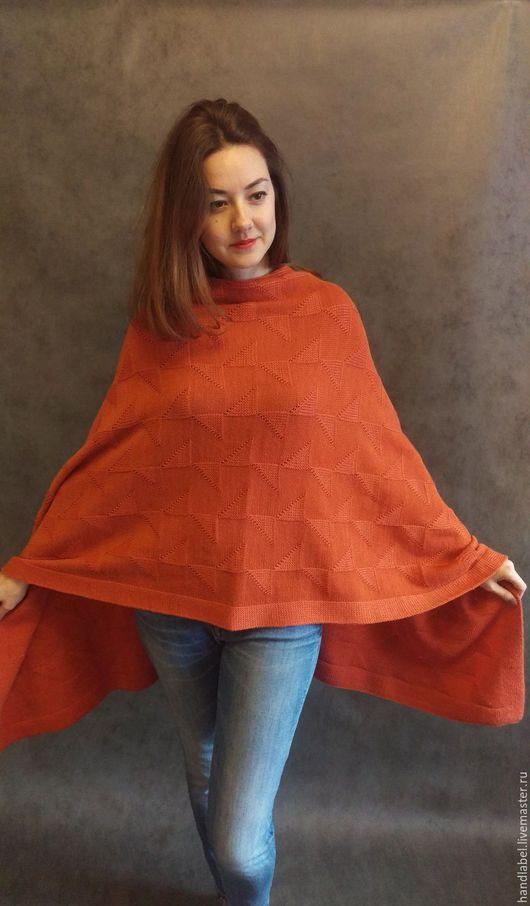 Кофты и свитера ручной работы. Ярмарка Мастеров - ручная работа. Купить Накидка - палантин. Handmade. Оранжевый, женская одежда