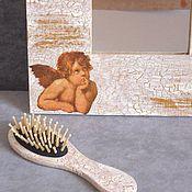 Для дома и интерьера ручной работы. Ярмарка Мастеров - ручная работа Зеркало с ангелами декупаж. Handmade.