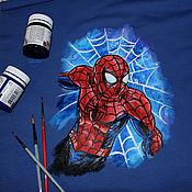 handmade. Livemaster - original item Sweatshirt cardigan children`s sweatshirt with a picture of spider-Man hand painted. Handmade.