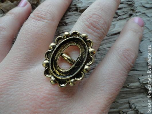 Для украшений ручной работы. Ярмарка Мастеров - ручная работа. Купить Основа для кольца Точки 13х18мм, античное золото (1шт). Handmade.