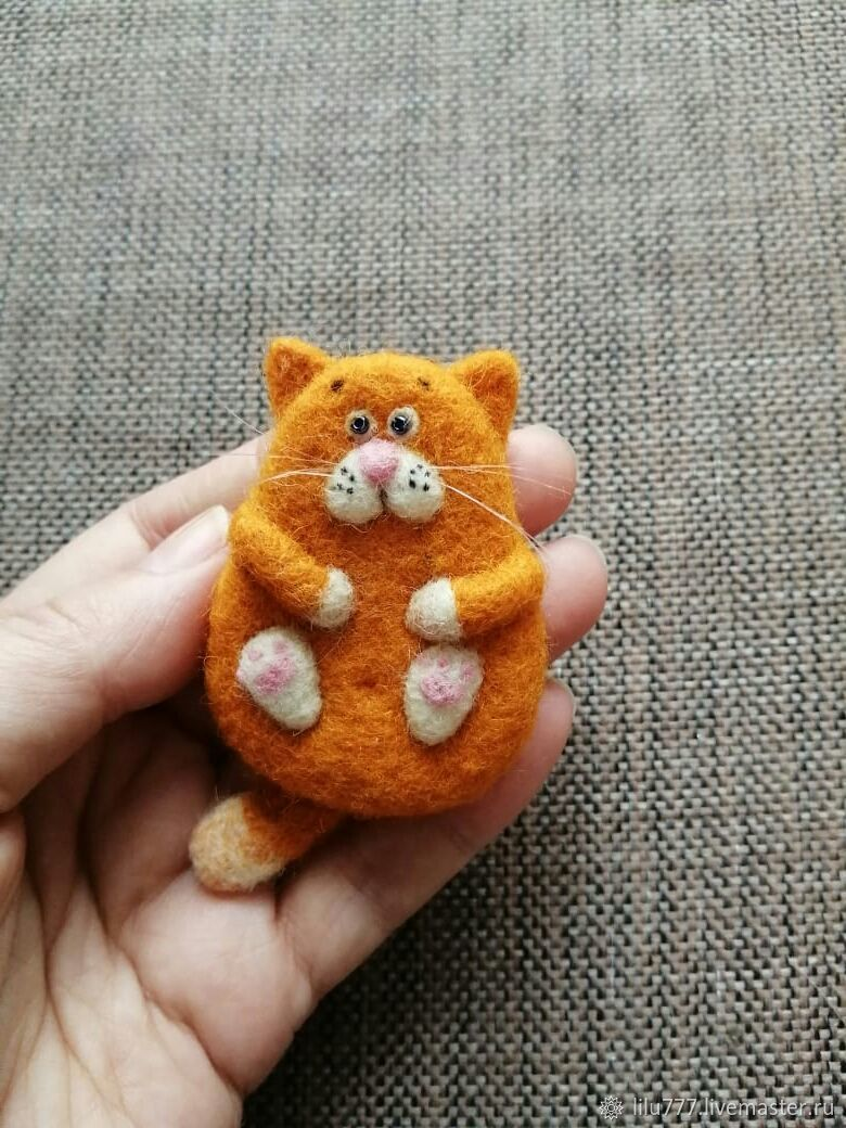 Red cat felt brooch, Brooches, Ufa,  Фото №1