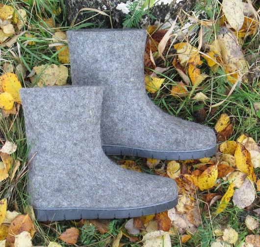 """Обувь ручной работы. Ярмарка Мастеров - ручная работа. Купить Валенки """"Рефлекс"""". Handmade. Темно-серый, обувь на заказ, шерсть"""