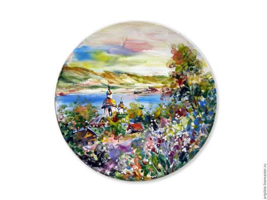 Керамическая тарелка `Летний пейзаж`. Керамика ручной работы. Ярмарка мастеров.