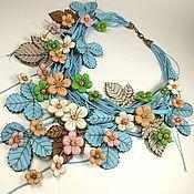 Украшения handmade. Livemaster - original item Strawberry Plains. Necklace made of genuine leather. Handmade.