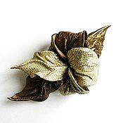 Украшения handmade. Livemaster - original item Flower hair clip decoration gift for New Year Golden bronze. Handmade.