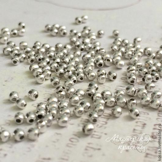 Для украшений ручной работы. Ярмарка Мастеров - ручная работа. Купить Бусины разделители кримпы серебро 3, 4, 5 мм (10 шт). Handmade.