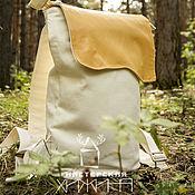 Сумки и аксессуары handmade. Livemaster - original item Linen rectangular backpack Clean sheet-natures.leather,linen,yellow,white. Handmade.