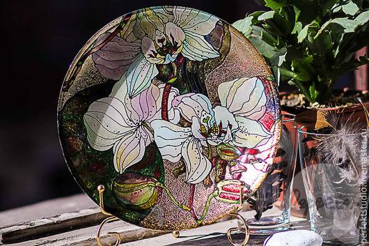 """Тарелки ручной работы. Ярмарка Мастеров - ручная работа. Купить Тарелка декоративная """"Орхидеи"""". Handmade. Комбинированный, тарелка сувенирная, подарок"""