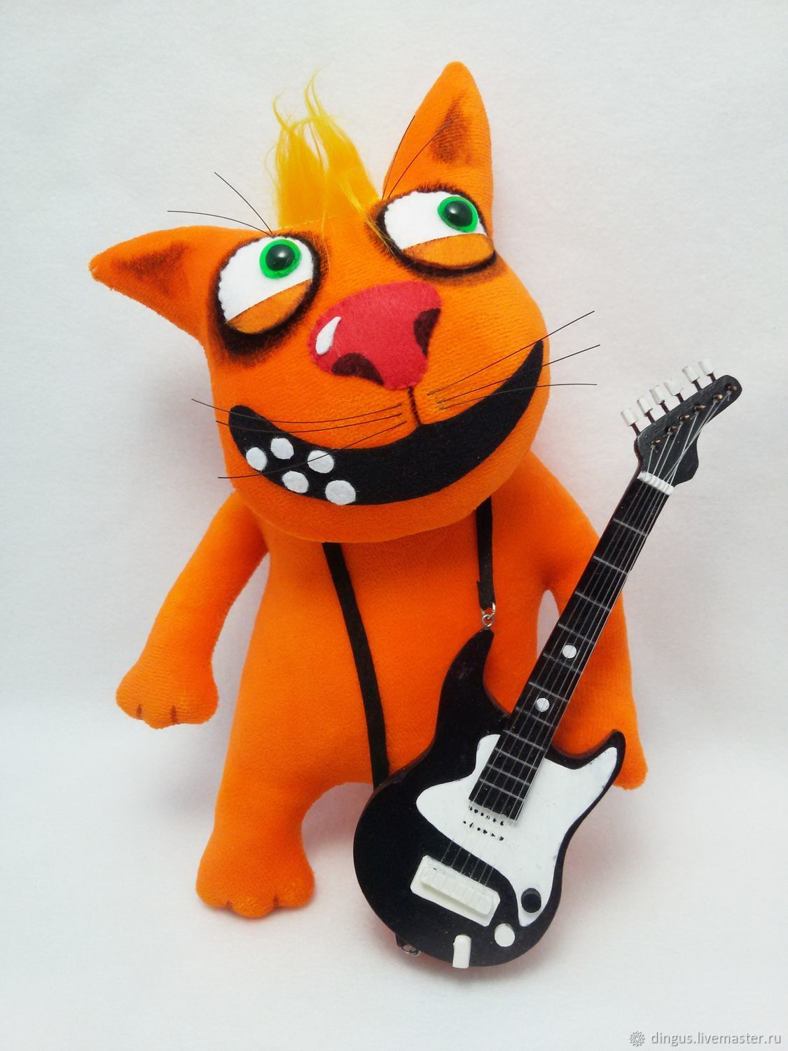 Soft toy plush red cat with rock star guitar, Stuffed Toys, Moscow,  Фото №1