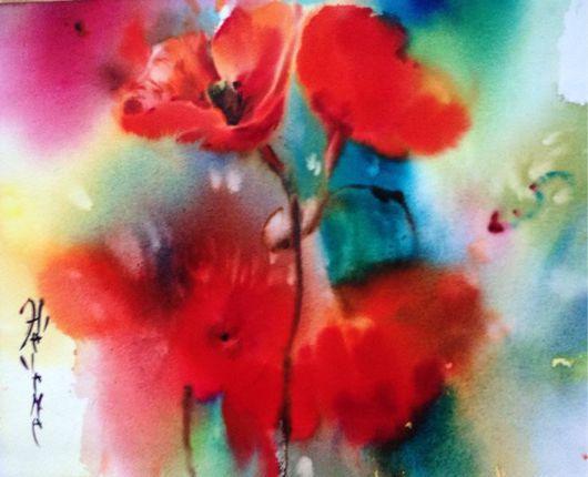 Картины цветов ручной работы. Ярмарка Мастеров - ручная работа. Купить Акварель маки ( резерв). Handmade. Красный, акварель