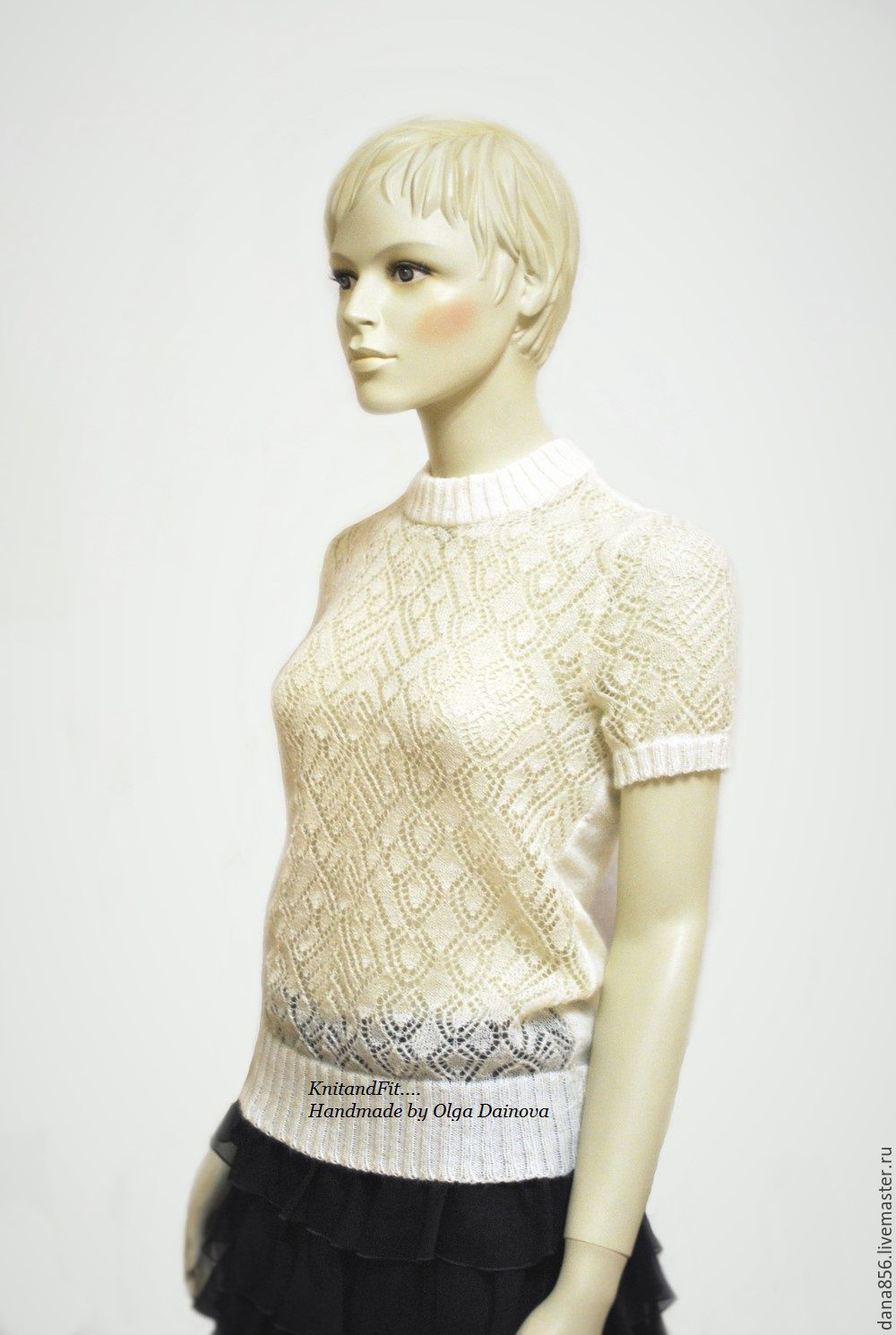 2c727afb8bcc Sweater women knitted. Blouse fishnet. Top.