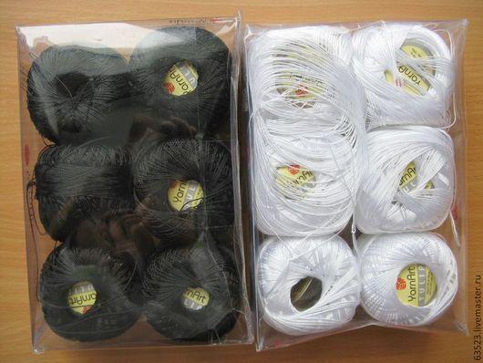 Вязание ручной работы. Ярмарка Мастеров - ручная работа. Купить Пряжа Тулип (Tulip). Handmade. Черный, белый, микрофибра, пряжа