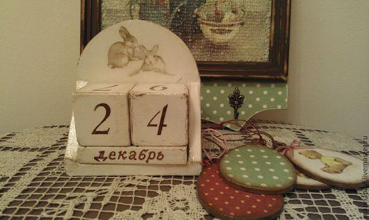 """Прихожая ручной работы. Ярмарка Мастеров - ручная работа. Купить Маленький календарик """"Зимний день"""". Handmade. Белый, дерево"""