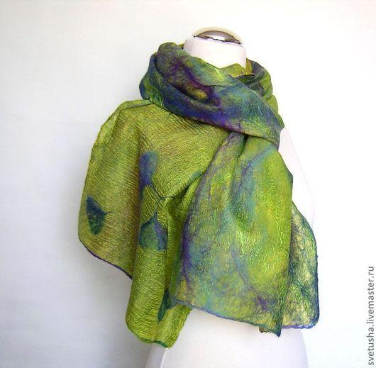 """Шали, палантины ручной работы. Ярмарка Мастеров - ручная работа. Купить Палантин валяный """"Оливия"""" войлочный мериносовый шелковый шарф. Handmade."""