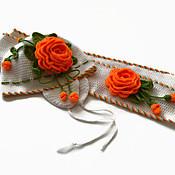 Работы для детей, handmade. Livemaster - original item Hat and scarf made of wool for girls. Set Orange roses. Handmade.