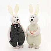 Подарки ручной работы. Ярмарка Мастеров - ручная работа Свадебные Зайцы, кролики и зайчики подарок на свадьбу, кофе с молоком. Handmade.