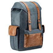 Сумки и аксессуары handmade. Livemaster - original item Hannibal leather backpack (blue and brown). Handmade.