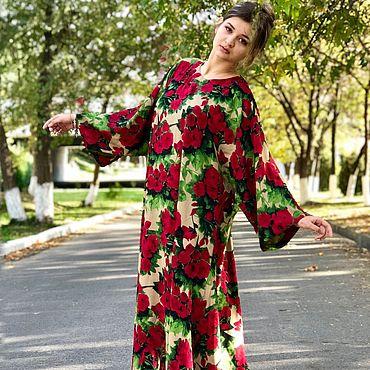 Clothing handmade. Livemaster - original item Dress long, loose cotton-Memoirs of a geisha, red roses. Handmade.