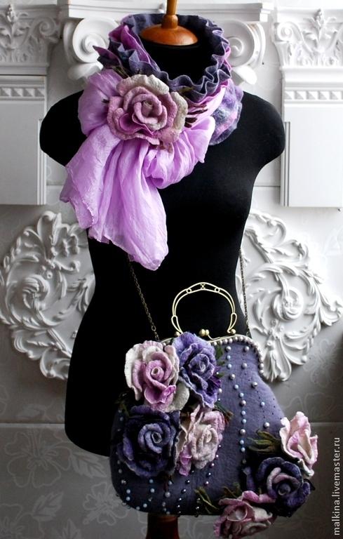 Женские сумки ручной работы. Ярмарка Мастеров - ручная работа. Купить Валяная сумка и шарф с шелком Сиреневые розы. Handmade.
