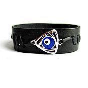 Украшения handmade. Livemaster - original item Men`s leather bracelet Fatima`s Eye (Nazar) amulet from the evil eye. Handmade.