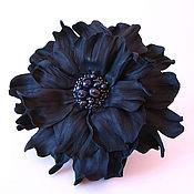 """Украшения ручной работы. Ярмарка Мастеров - ручная работа брошь-цветок """"Чёрная жемчужина"""". Handmade."""