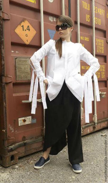 Кофты и свитера ручной работы. Ярмарка Мастеров - ручная работа. Купить ЭКСТРАВАГАНТНАЯ БЕЛАЯ РУБАШКА. Handmade. Белый, рубашка модная