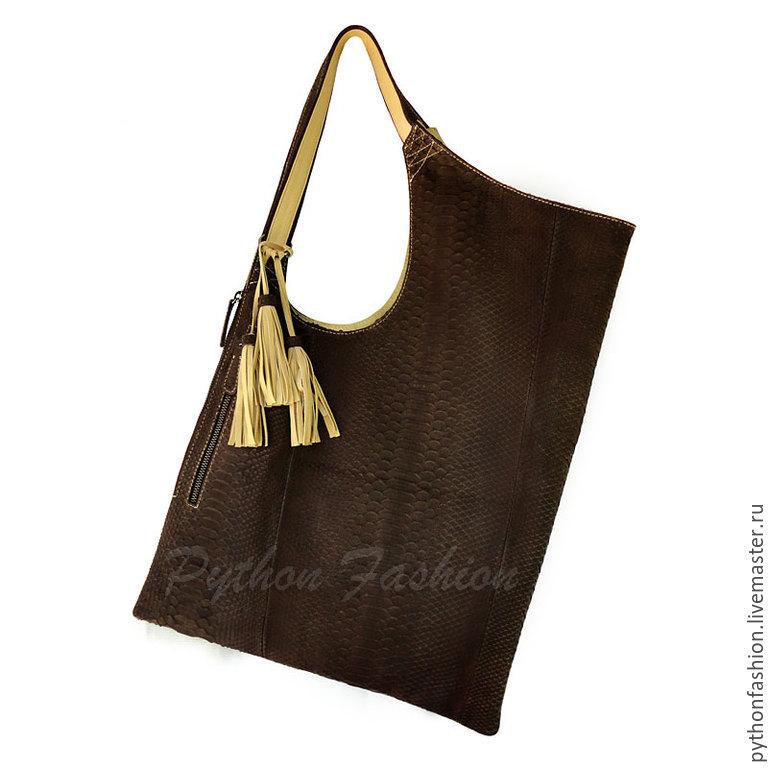 Bag made of Python. The tote bag from Python. Convenient bag with pockets. Women's bag made of Python with tassels. Bag Python custom. Trendy author bag Python. Pimonova stylish shoulder bag.