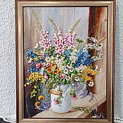 Картины и панно handmade. Livemaster - original item Picture Embroidered with ribbons Wild flowers in a can. Handmade.