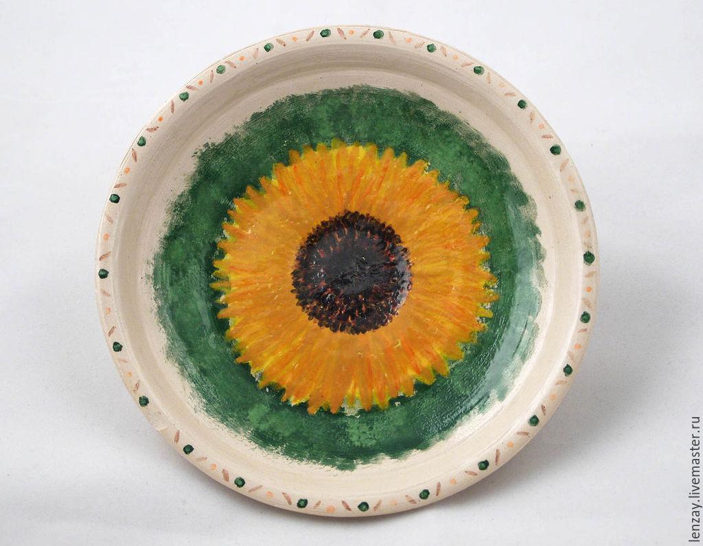 Plate `Sunflower` in the spirit of impressionism. Ceramic flowers Elena Zaichenko