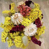 Цветы и флористика ручной работы. Ярмарка Мастеров - ручная работа Букет из сухоцветов желтый с бордовым. Handmade.