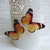 Украшения handmade. Livemaster - original item Transparent Earrings Orange Yellow Butterfly. Handmade.