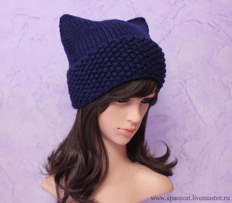шапка вязаная, шапка-кошка,