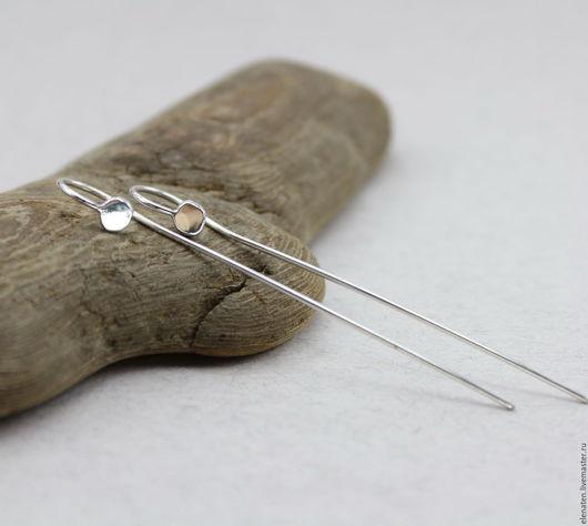 Серьги ручной работы. Ярмарка Мастеров - ручная работа. Купить Серебряные серьги , длинные необычные серьги, минимализм. Handmade.