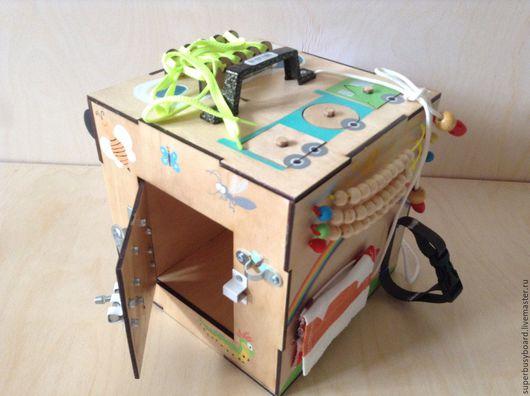 """Развивающие игрушки ручной работы. Ярмарка Мастеров - ручная работа. Купить Бизиборд """"Бокс"""". Handmade. Бизиборд, Монтессори, развивающая доска"""