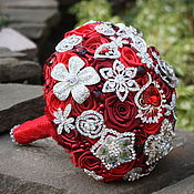 """Свадебный салон ручной работы. Ярмарка Мастеров - ручная работа Красный брошь-букет для невесты ,,Кармен"""".. Handmade."""